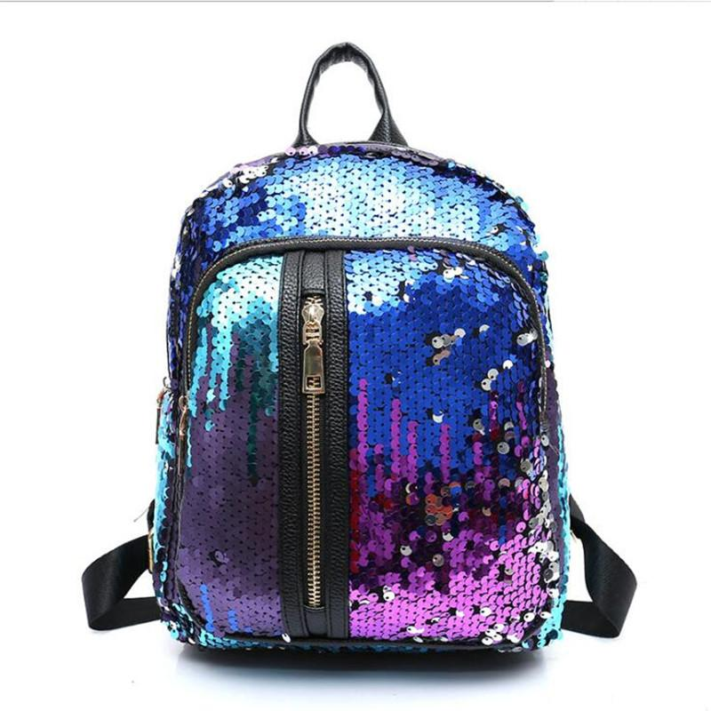 b593b96d5099 Meloke 2017 Newest Glitter Backpack Teenager Boys Girls School Bag Women  Small Sequins Backpacks Bag Vertical Zipper PU Leather Laptop Backpacks  Travel ...