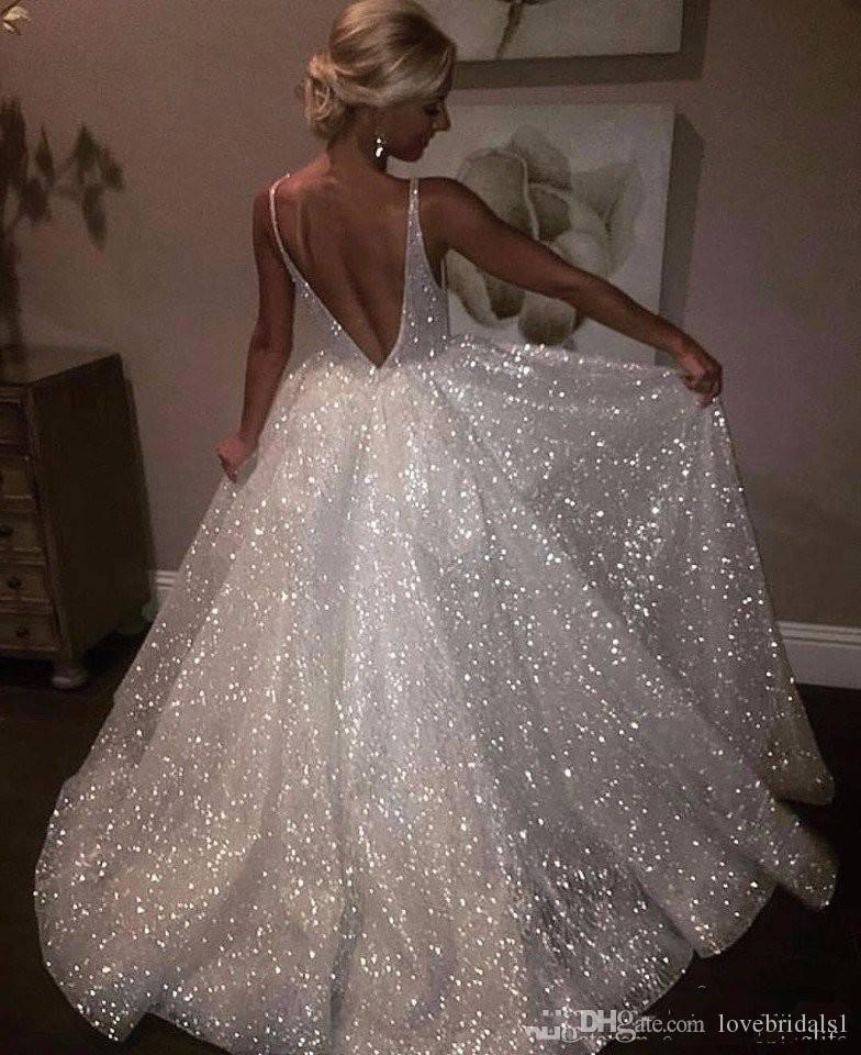 2019 Sexy White Deep V Neck Sparkle Sequined Long Evening Dresses Backless Long Prom Gowns Cheap Pageant Special Occasion Gowns
