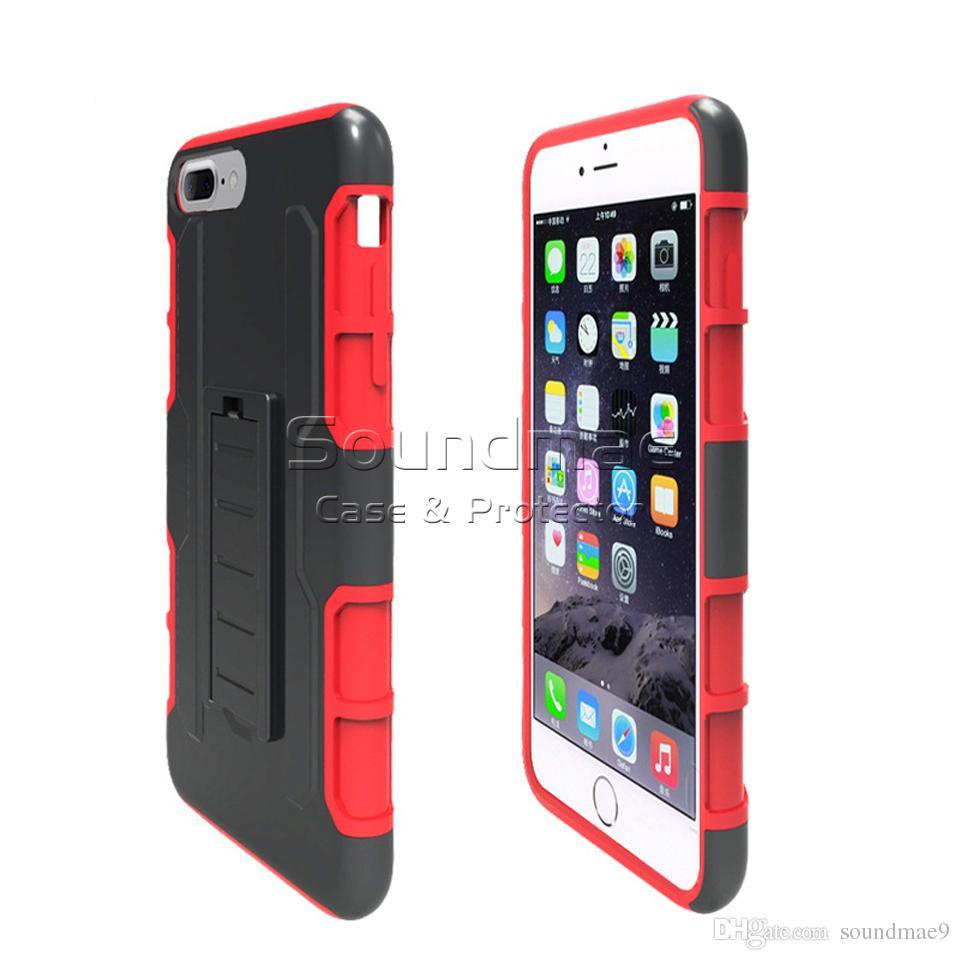 Armor Hybrid Case 3 en 1 Funda Combo Holster Belt Clip Defender Defender Kickstand Cubierta del teléfono para iPhone X 8 7 Plus Samsung Note 8 S8 OPP Bag