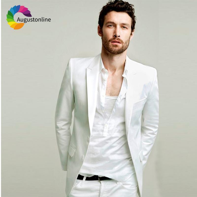Compre 2018 Slim Fit Summer White Trajes Para Hombre Traje De Boda Novio  Prom Casual Esmoquin Mejor Hombre Blazer Traje Hombre Chaqueta + Pantalones  A ... f1c3d1901c1