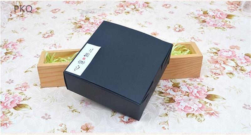 10pcs Black kraft paper box Candy chocolate cake packaging box Wedding party favors gift supplies 12x12x4.5cm