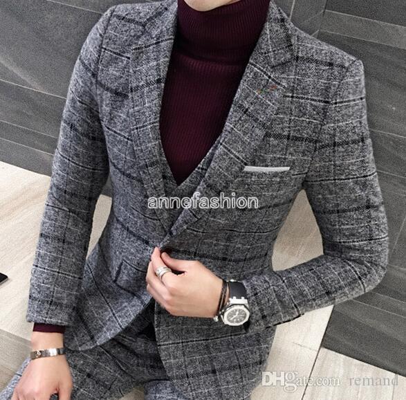 527f550b6 Compre Venta Al Por Mayor De Otoño Invierno Ventana Patrón De Verificación  Hombres De Lana Traje Blazer Establece Vestido De Boda Por Encargo Mejor  Traje ...
