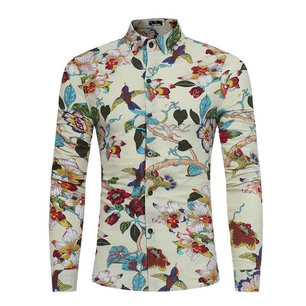 0d74e3a187da Großhandel Blumenvögel Gedruckt Tops Frühling Tragen Männer Shirt Dinner  Party Kleidung Männliche Beiläufige Bluse Langarm Mode Boy Shirts Vintage  Von ...