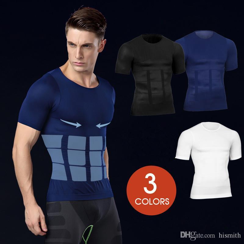 067287f5d7f88 Men s Body Shaper Slimming Shirt Tummy Waist Vest Lose Weight Shirt ...