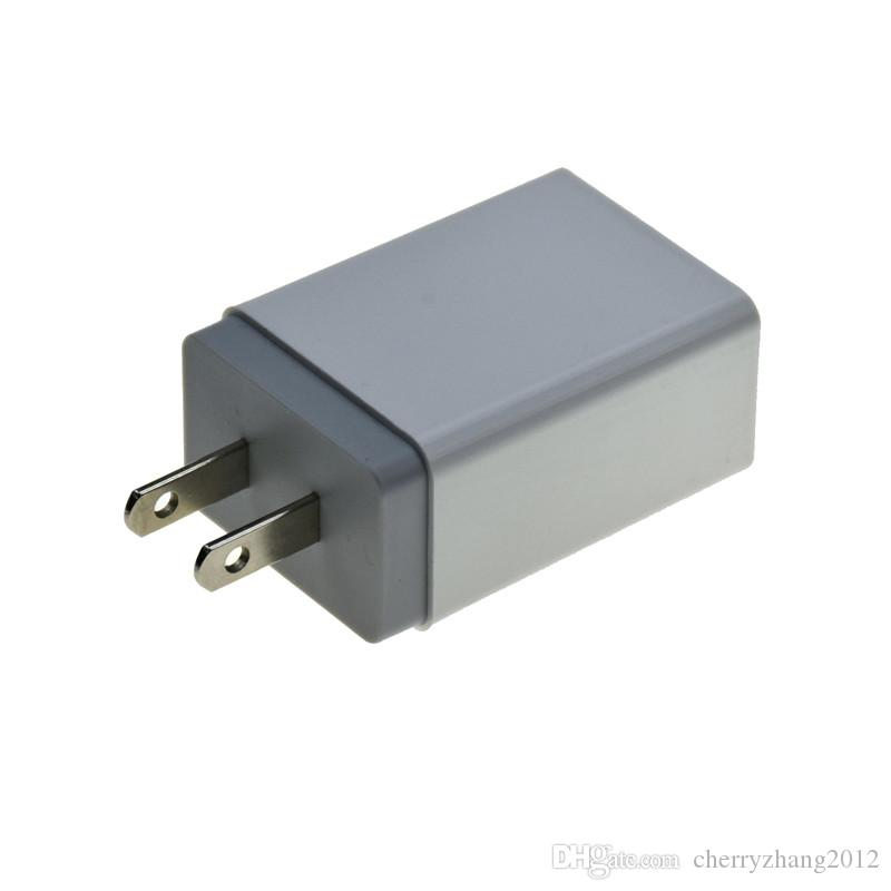 Cargador de pared con doble puerto USB para Samsung S8 Nota 8 5V 2.4A 1A metal recorrido del adaptador de enchufe de los EEUU adaptador de CA