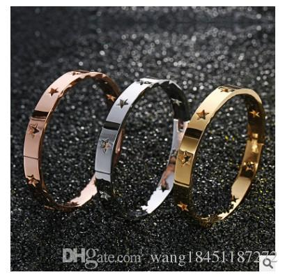 The U.S. version of hollow titanium bracelet rose gold star gold bracelet jewelry will not fade in the furnace hot wholesale