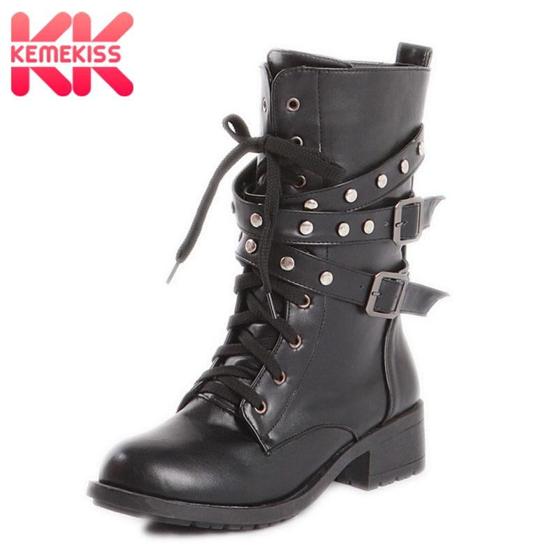 KemeKiss Size 34 43 Women Boots Metal Buckle Lace Up Rivets Round Toe Punk  Mid Calf Boots Fashion Short Footwear High Heel Boots White Boots From  Taylorst 1d7c78e5dc75
