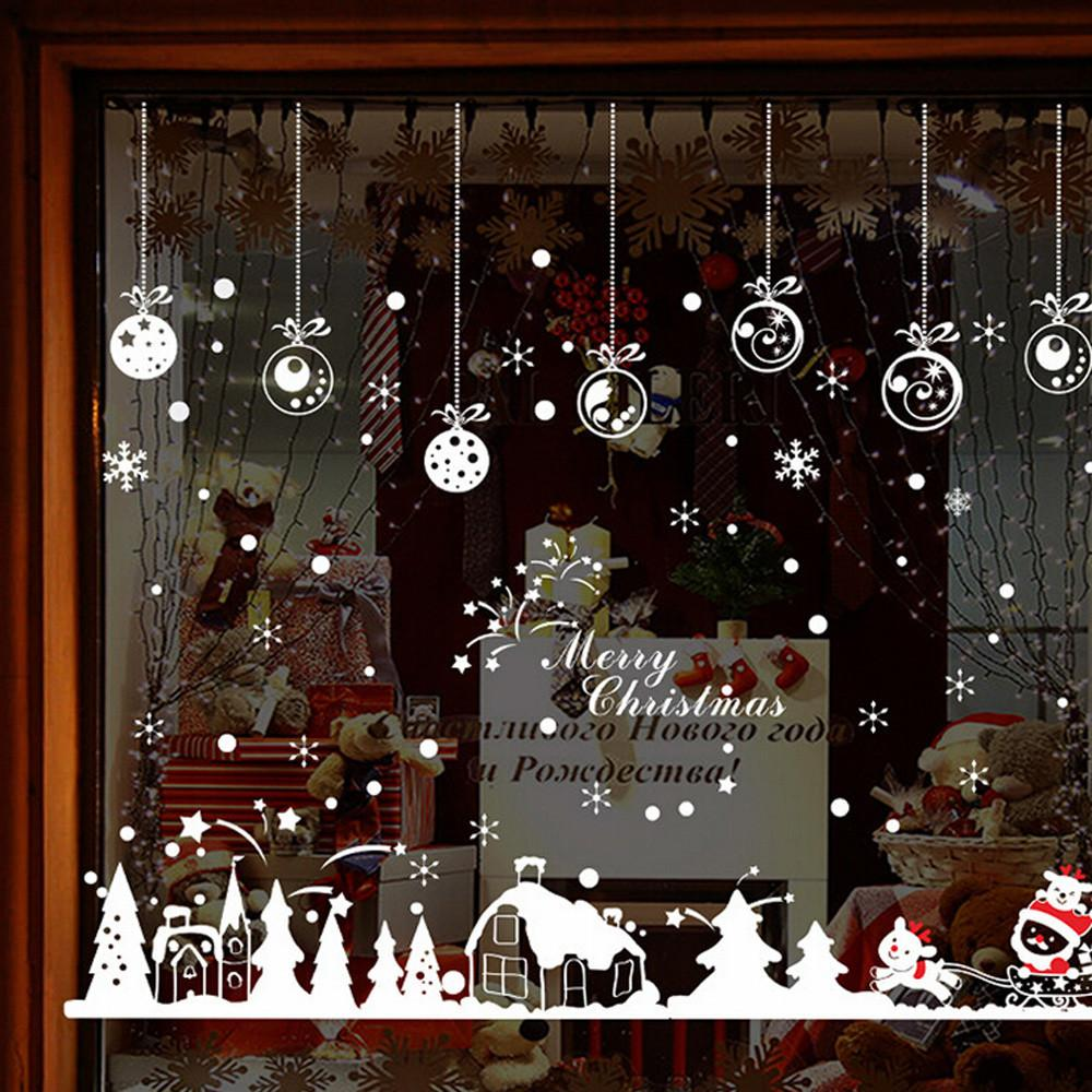 Hot Sale Cabin Snowflake Wall Stickers Merry Christmas Decoration Decal Window Sticker Home Room Decor For Shop Cafe Doors Decor
