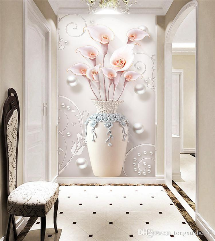 acquista vaso 3d giglio floreale carta da parati murales. Black Bedroom Furniture Sets. Home Design Ideas