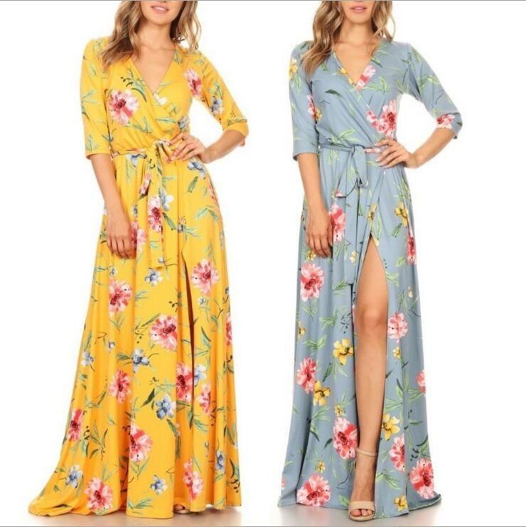 a036e6e521b 2018 Summer Plus Size Maxi Dress Women Floral Print V Neck Split Sexy Long  Beach Dresses Clothes Sun Dresses Sale Women Dress Styles From Casual wear