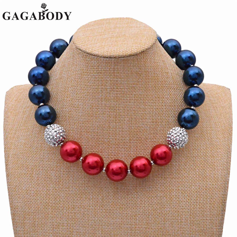 2017 Moda 4 de julio Collares Chunky 1 UNID Collar de chicle Collar de perlas del Día de la Independencia