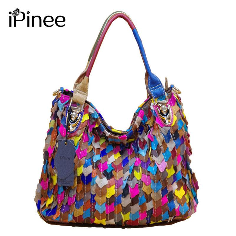 IPinee Fashion Handbags 2017 Luxury Patchwork Genuine Leather Bag Famous  Brand Sheepskin Casual Women Shoulder Bag Women Bags Leather Bags For Women  ...