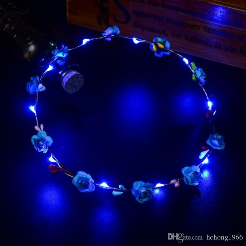 Mode rotin fleur Couronne Couvre-chef Bandeau lumineux LED cheveux bande ronde Couronne de soirée de mariage Décor Coiffe pour les femmes et les filles 2 4zc B