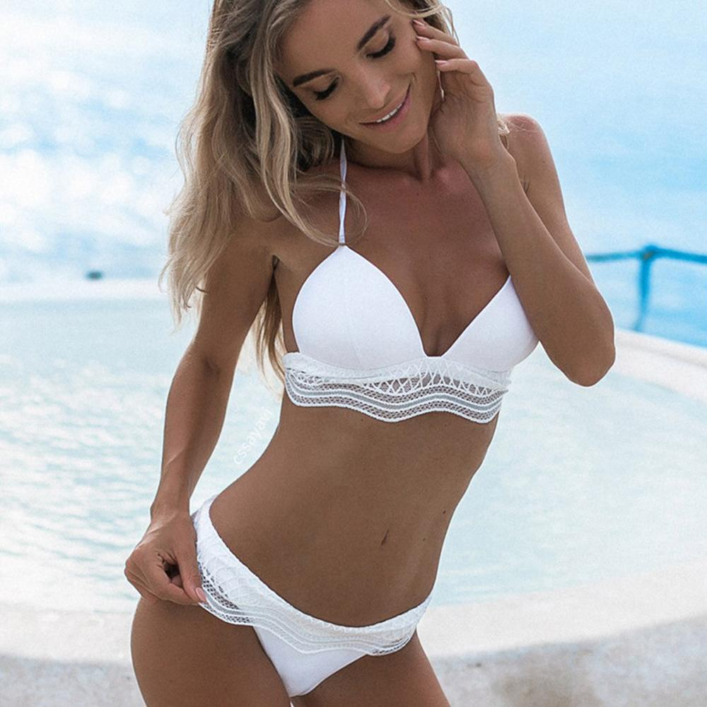 43af5a0f3002 2019 Wholesale White Bikini Set Women Sexy Lace Swimsuits Push Up Swimming  Suit Halter Zaful Bathing Suit For Girl High Waist Swimsuit XL From  Bclothes002