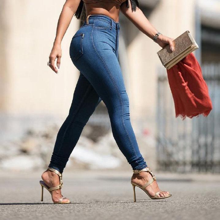 9c3a1afae0 Compre 2017 Otoño Delgado Pantalones Vaqueros Delgados De La Elasticidad De  Las Mujeres De Europa De Cintura Alta Push Up Pantalones De Lápiz Mujer  Casual ...