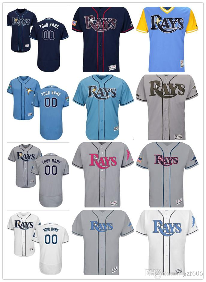 new product a995e a2e85 custom Men s women youth Majestic Tampa Bay Rays Jersey Personalized Name  and Number Blue Grey White Kids Girls Baseball Jerseys