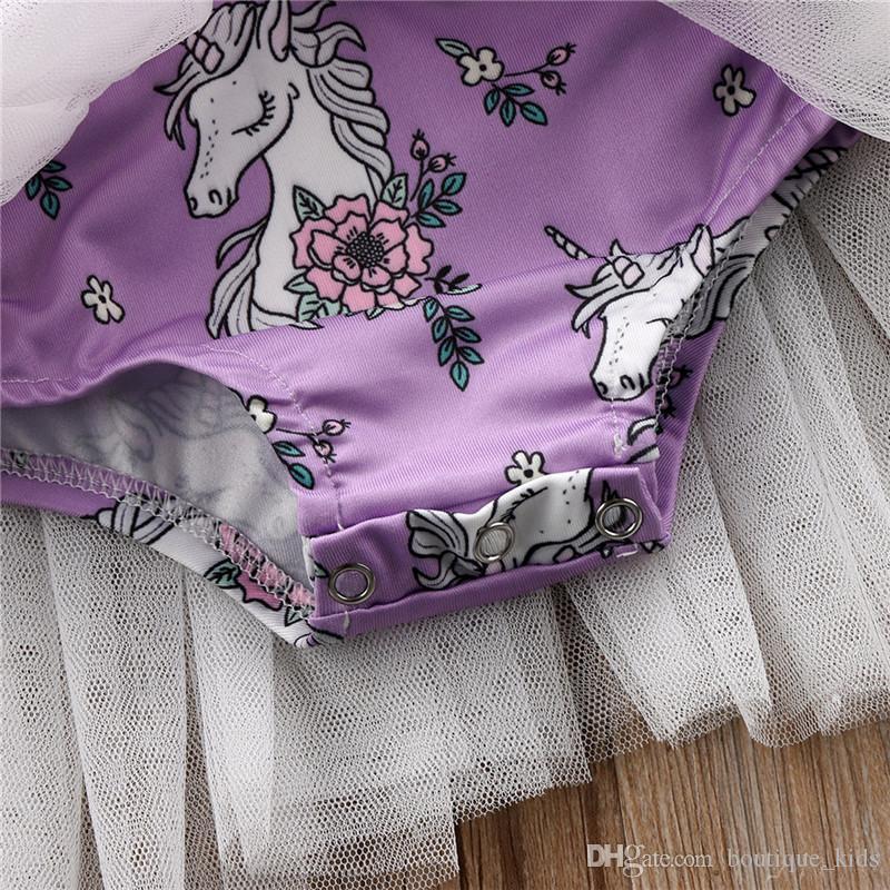 2018 Nouvelle Licorne Bébé Fille Robes Enfant Fille Vêtements D'été Mouche Mouche Floral Tutu Tulle Barboteuse Mini Robes Enfants Boutique Vêtements 1-5A