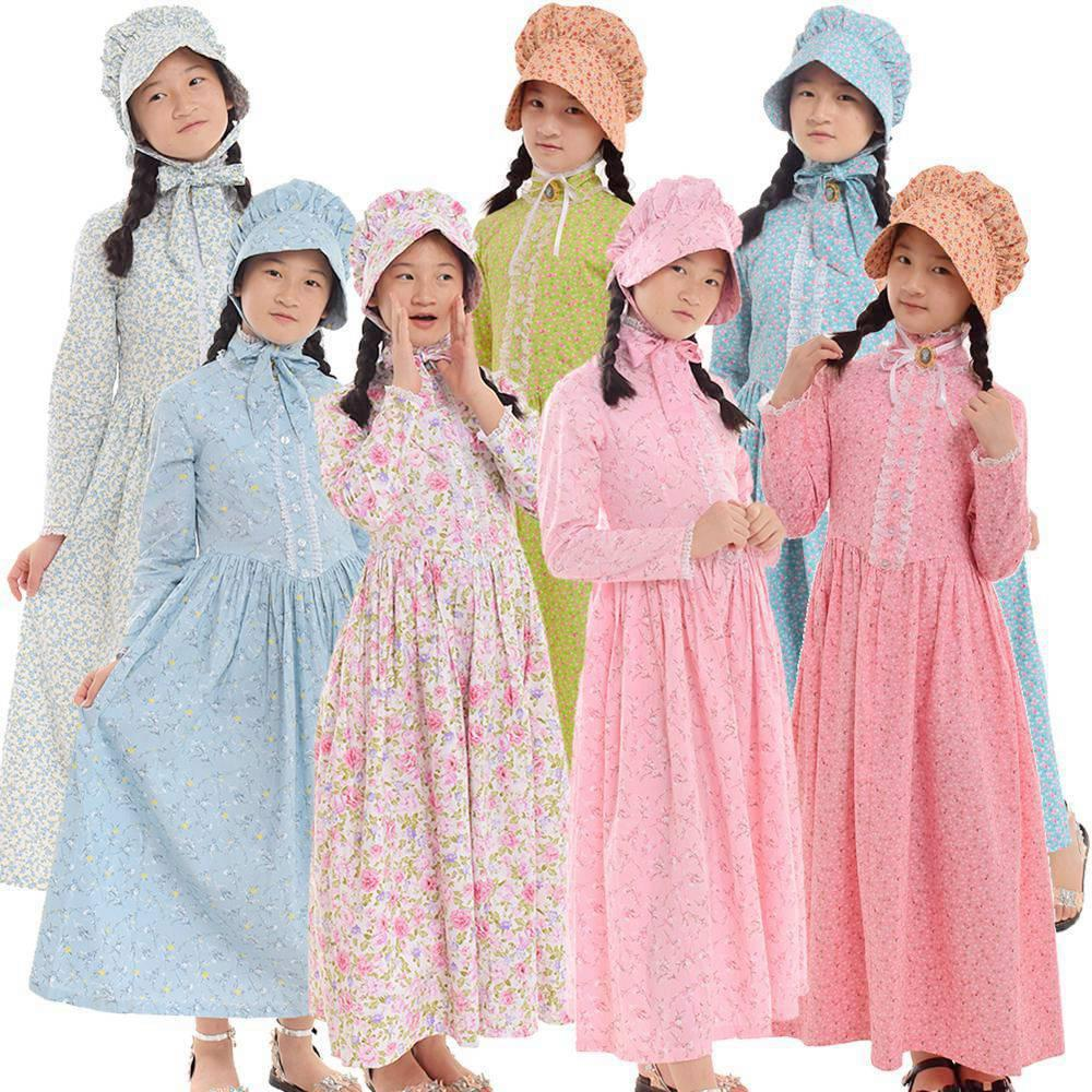 4 Person Halloween Costumes Girls.Halloween Costumes For Girls Civil War Medieval Vintage Holidays Party Kids Floral Dresses With Hat Outfits Colonial Costume