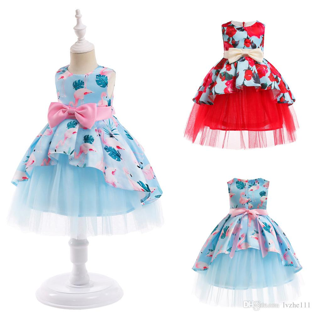 2019 New Fashion Children Kids Girls Flower Flamingo Print Bow Princess  Wedding Party Dress Gown From Lvzhe111 1aeb048ef522