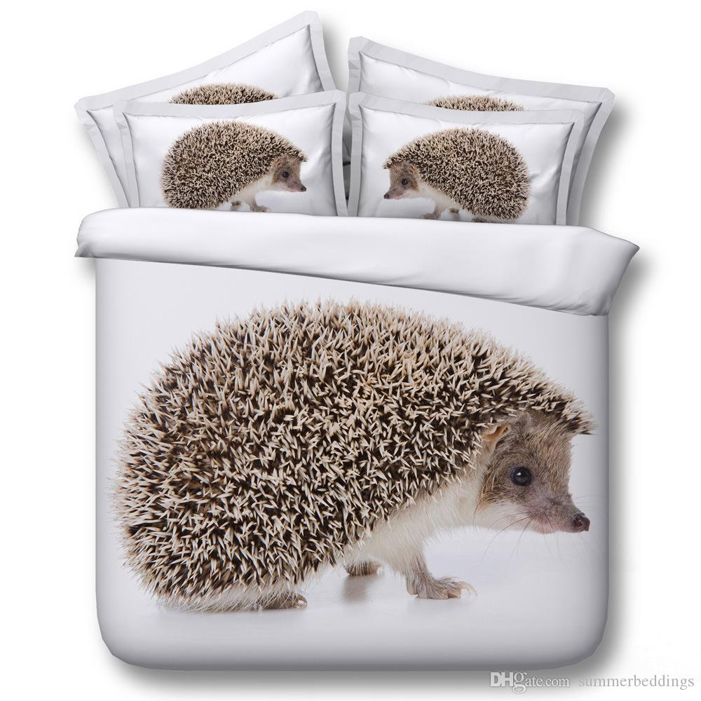 Comforter Sets Queen.3d Hedgehog Bedding Sets Animal Duvet Covers White Bedspreads Comforter Cover Bed Linen Quilt Covers Bed Cover For Adults Boys Men