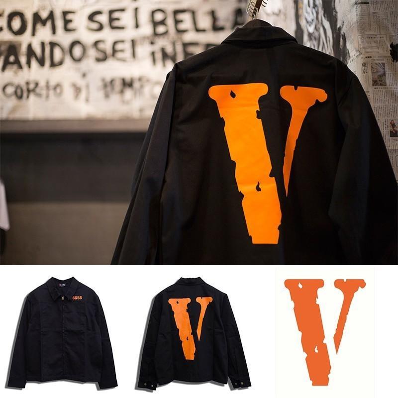 05bcd2a1f 18FW VLONE Jacket Big V 555555 Prison Jacket Coat High Street High Quality  Fashion Men And Women Jacket HFBYJK137