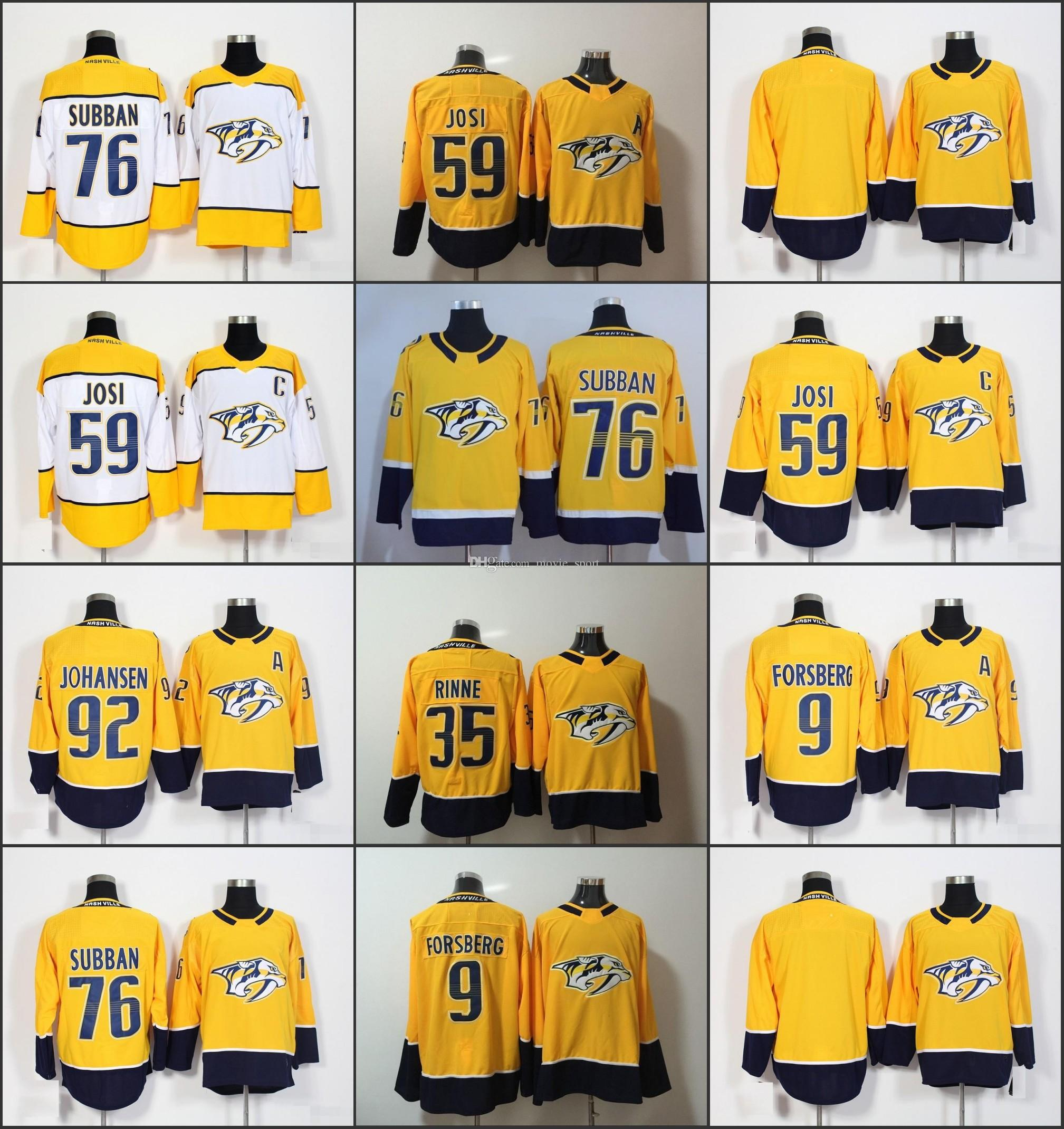 2019 Man Women Youth Nashville Predators Jerseys Kids Yellow White 76 PK  Subban 59 Roman Josi 92 Ryan Johansen 9 Filip Forsberg Pekka Rinne From  Movie sport ... e7deb32cb