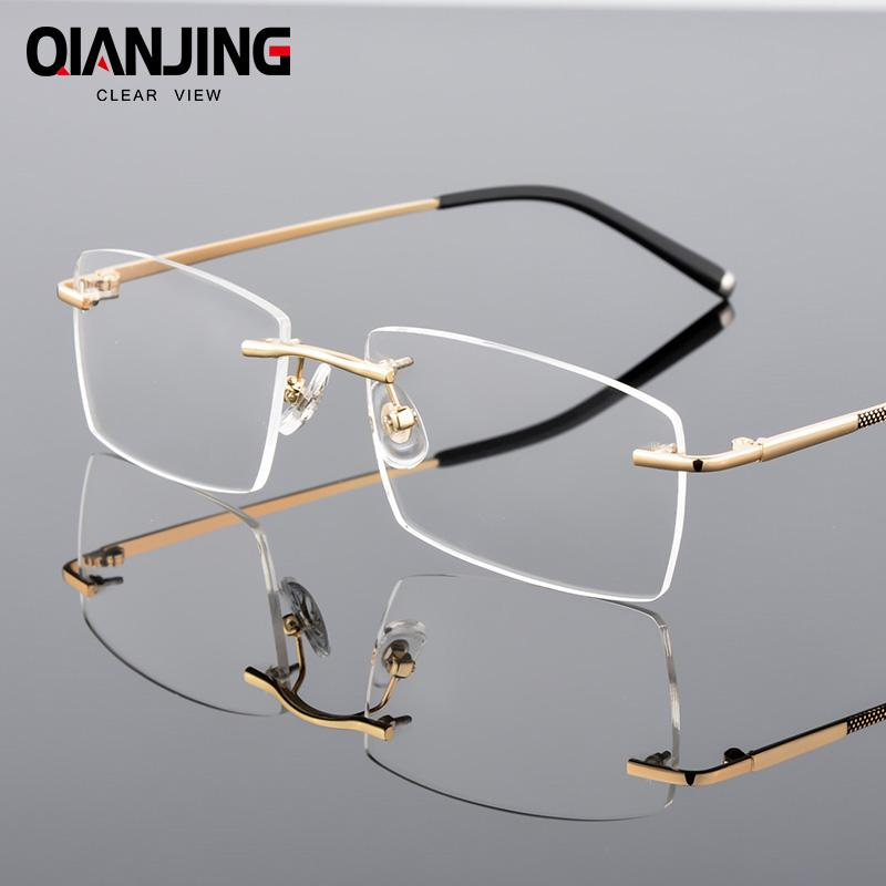 fd4153b1ade6 2019 QianJing Alloy Rimless Optical Eyeglasses Rimless Spectacle Frame Men  Gents Frameless Clear Glasses Gold Prescription Eyewear From Shuidianba, ...