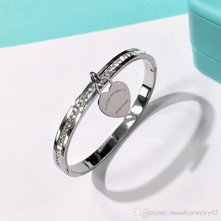 2018 nova marca dupla T moda aço inoxidável pulseiras de coração da marca para as mulheres com cz diamante amor pulseira new york fine jóias