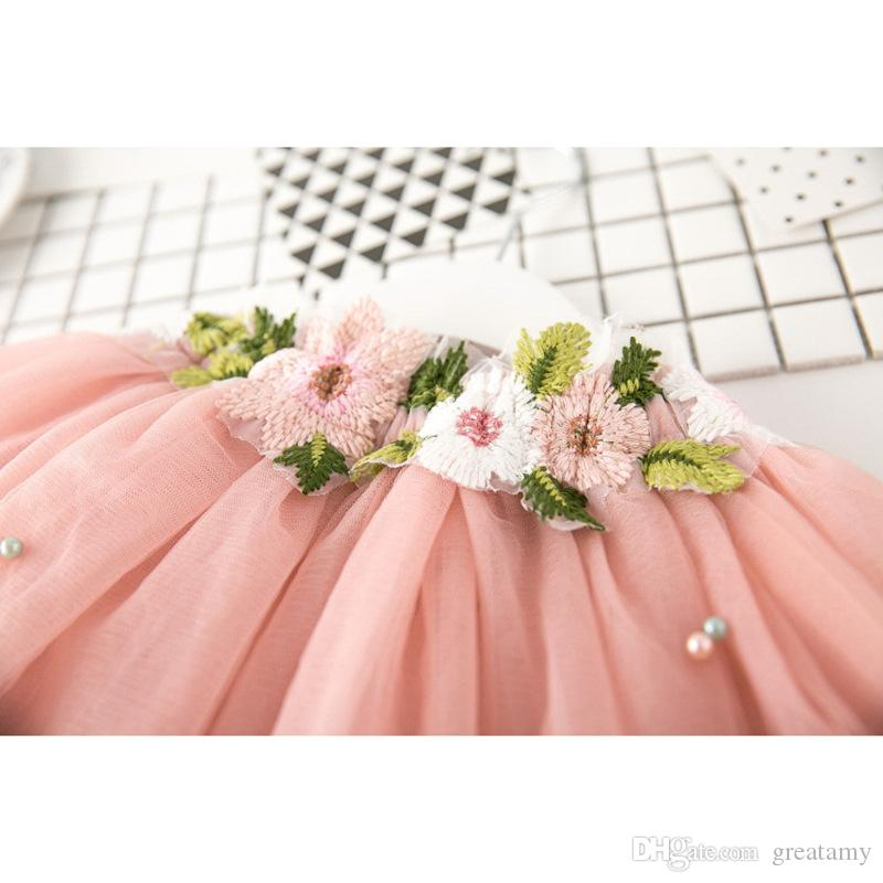 2018 new baby girls summer dress suits V-neck pearl T-shirt tops+flower tutu skirts clothing sets princess outfits outwear