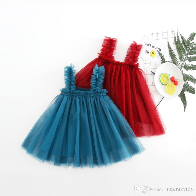 0093a1e5eb 2019 Kids Girls Princess Net Yarn Sleeveless Party Dress Dancing Tutu  Dresses Solid Backless Strap Outfits Clothes From Hotcrazytoy
