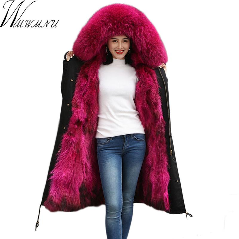 2018 New Winter Women Fur Parka Long Natural raccoon Fur Hooded Coat Real  Liner Thicken Warm Winter Jacket
