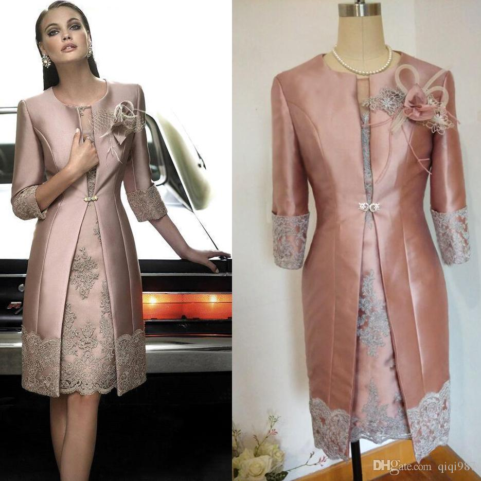 Real pictures Vintage Carla Ruiz Knee Length Mother off the Bride Groom Plus Size Suits Long Jacket Appliques Lace Wedding Guest Dresses