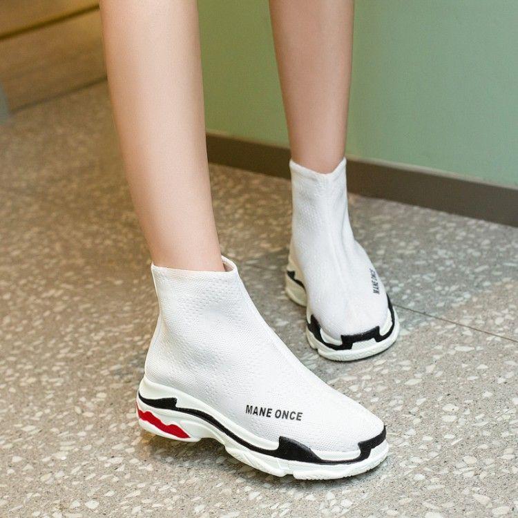 8121a2f9811 Compre Calcetines De Otoño Zapatos De Las Mujeres Nuevas 2018 Salvaje  Versión Coreana De La Marea Botas Elásticas De Espesor Zapatos Altos 29 46  Código De ...