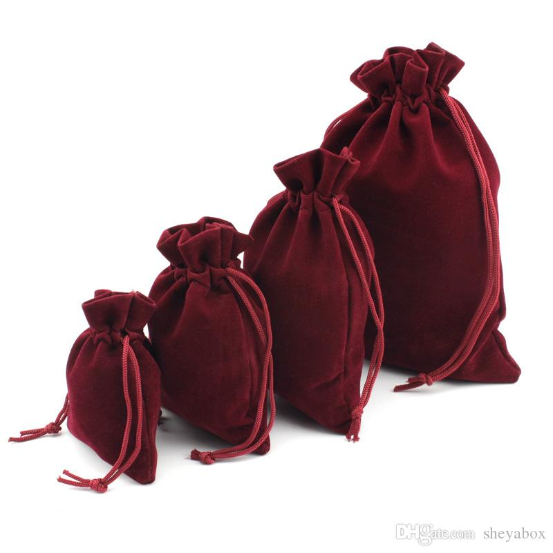 Red Wine Velvet Dust Proof Bags with Drawstring Jewellery Cosmetic Craft Products Packing Pouches Retail Shop Give Away Gift Packaging Bag