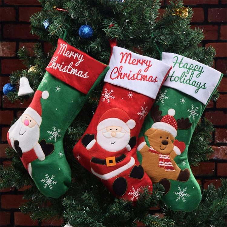 newest christmas stocking mix burlap cotton christmas stocking gift bag stocking 3 styles christmas tree decoration socks t1i952 sale christmas decorations - Burlap Christmas Decorations For Sale