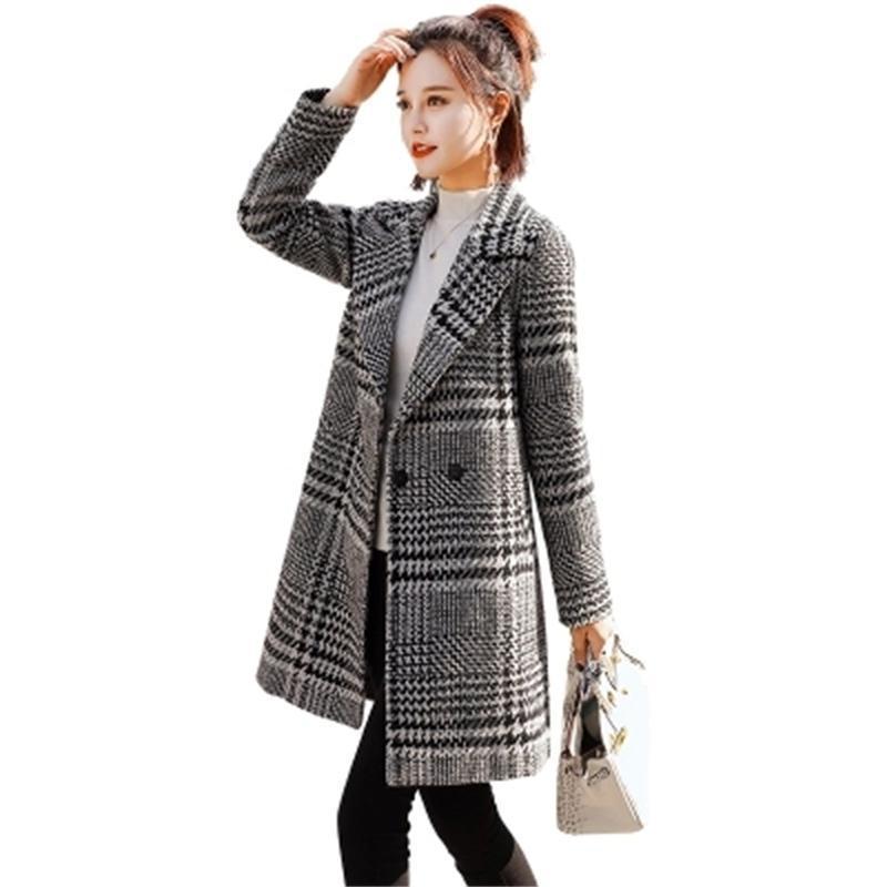 designer fashion 45004 7e211 Frau Plaid Blazer und Jacken Anzug Damen Herbst Neue Wollmantel weibliche  lange Abschnitt schlank Tartan Mantel Mantel weibliche Blazer S1030