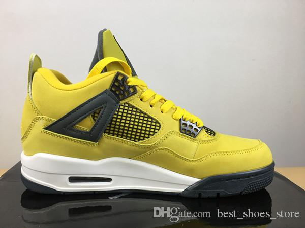 release date: dc225 b86b2 New design high quality 4 IV Lightning basketball shoes Wholesale 4s men  yellow black outdoor sports sneakers trainers with box size 7-13