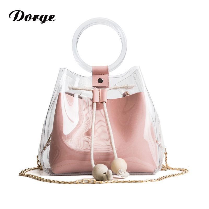 2018 Fashion Ladies Simple Mini Small Shoulder Bag Clear Slant Slant Handbag  Girl Little Fresh Cute Composite Bag Female Handbag Side Bags Handbag Brands  ... 59585b8ad15a1