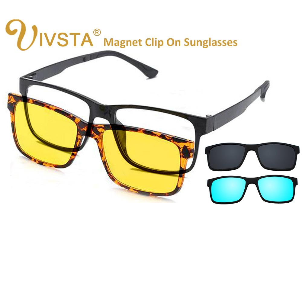 f3cfc1947f IVSTA Include Frame Polarized Clip On Sunglasses Men TR90 Custom Prescription  Lenses Magnetic Clips Night Glasses Drive Magnet Vintage Sunglasses Super  ...