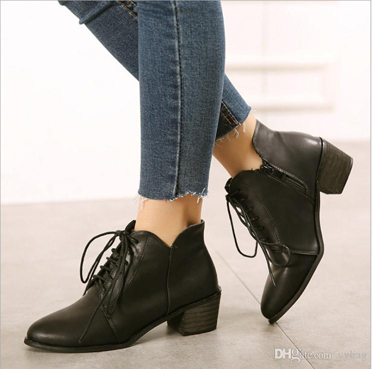 1d97ca758ff Retro Ankle Boot Soles Plain Color Fancy PU Womens Shoes 2018 Autumn And  Winter Retro Martin Boots Women S Shoes With Leather Boots Cute Shoes Boots  From ...