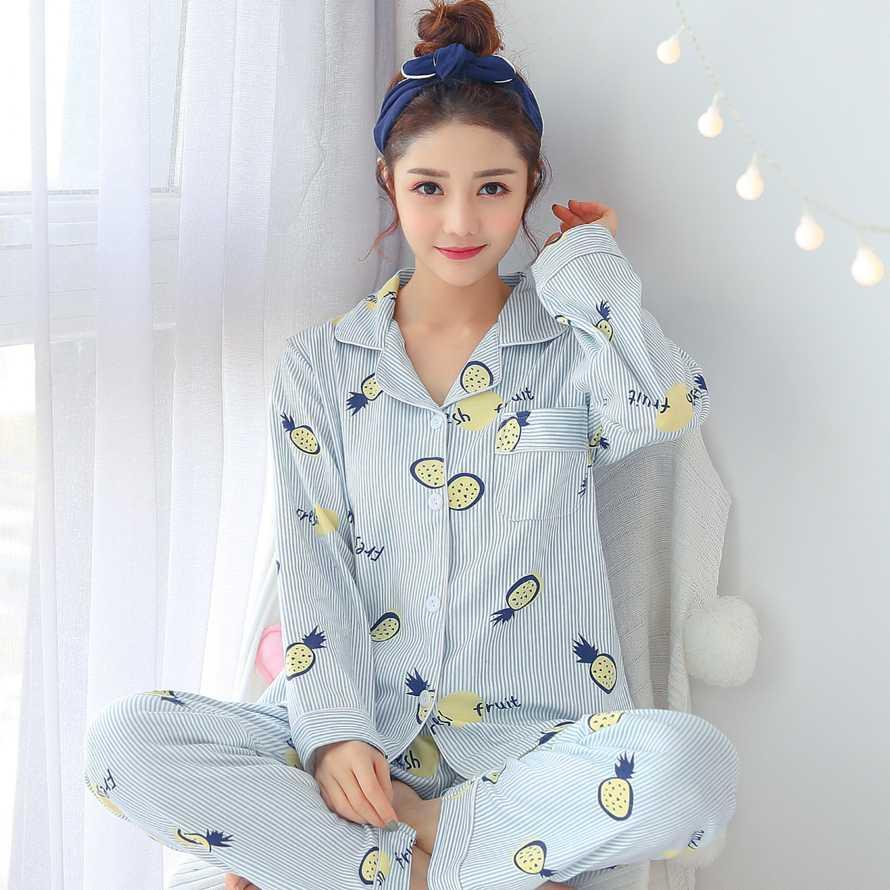 41b6eba7e8 2019 2018 Autumn Winter 100% Cotton Striped Casual Indoor Clothing Pajama  Set For Women Long Sleeve Pyjama Loungewear Pijama Homewear From Georgely