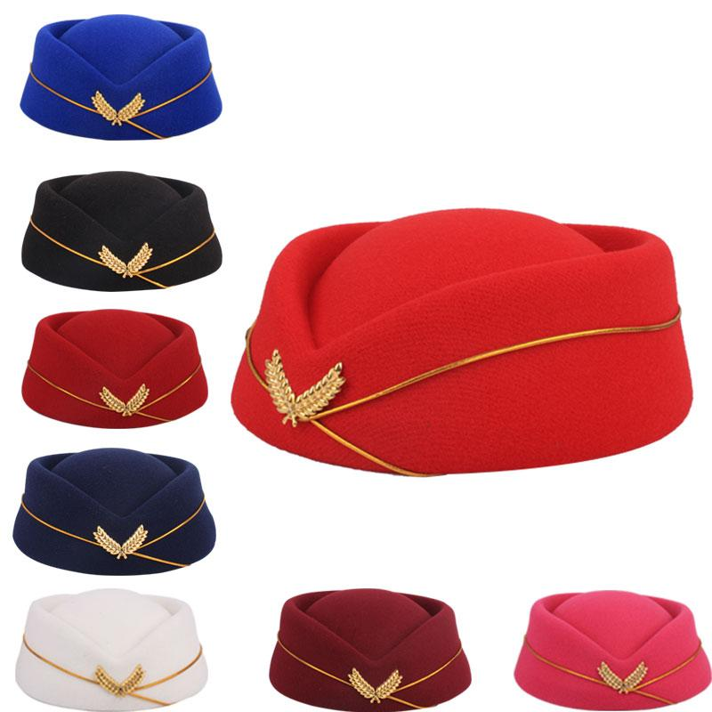 Acquista 2018 Party Cap Lana Feltro Air Hostess Berretto Beretta Cappello  Cappuccio Hostess Compagnia Aerea Sexy Cappellino Formale Uniforme  Cappellini ... 4025a23483c5