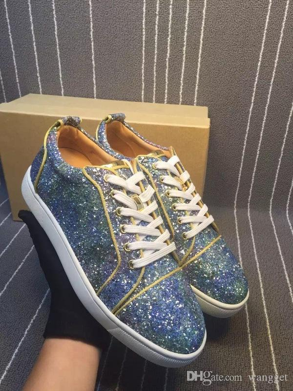 Shiny Rhinestone Red Bottom Sneakers For Men And Women Luxury Brand ... fc0a9af9ae3d