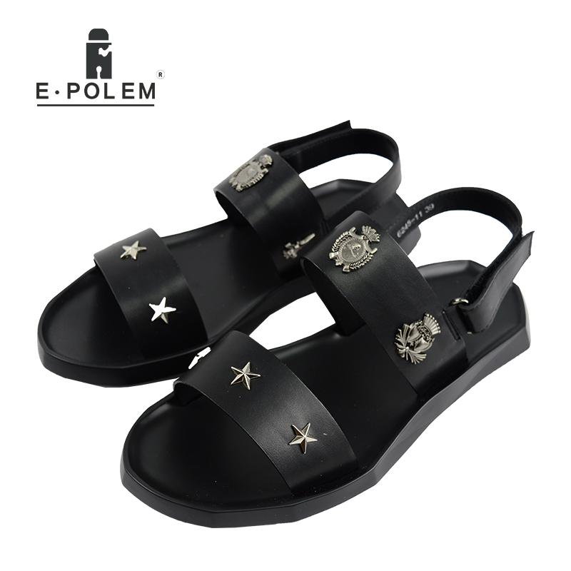 6c1f43a9a7c7b 2017 Summer Men New Style Black Joker Star Rivet Casual Rome Sandals  Fashion Hollow Out Breathable Leather Beach Sandals Knee High Gladiator Sandals  Sandals ...