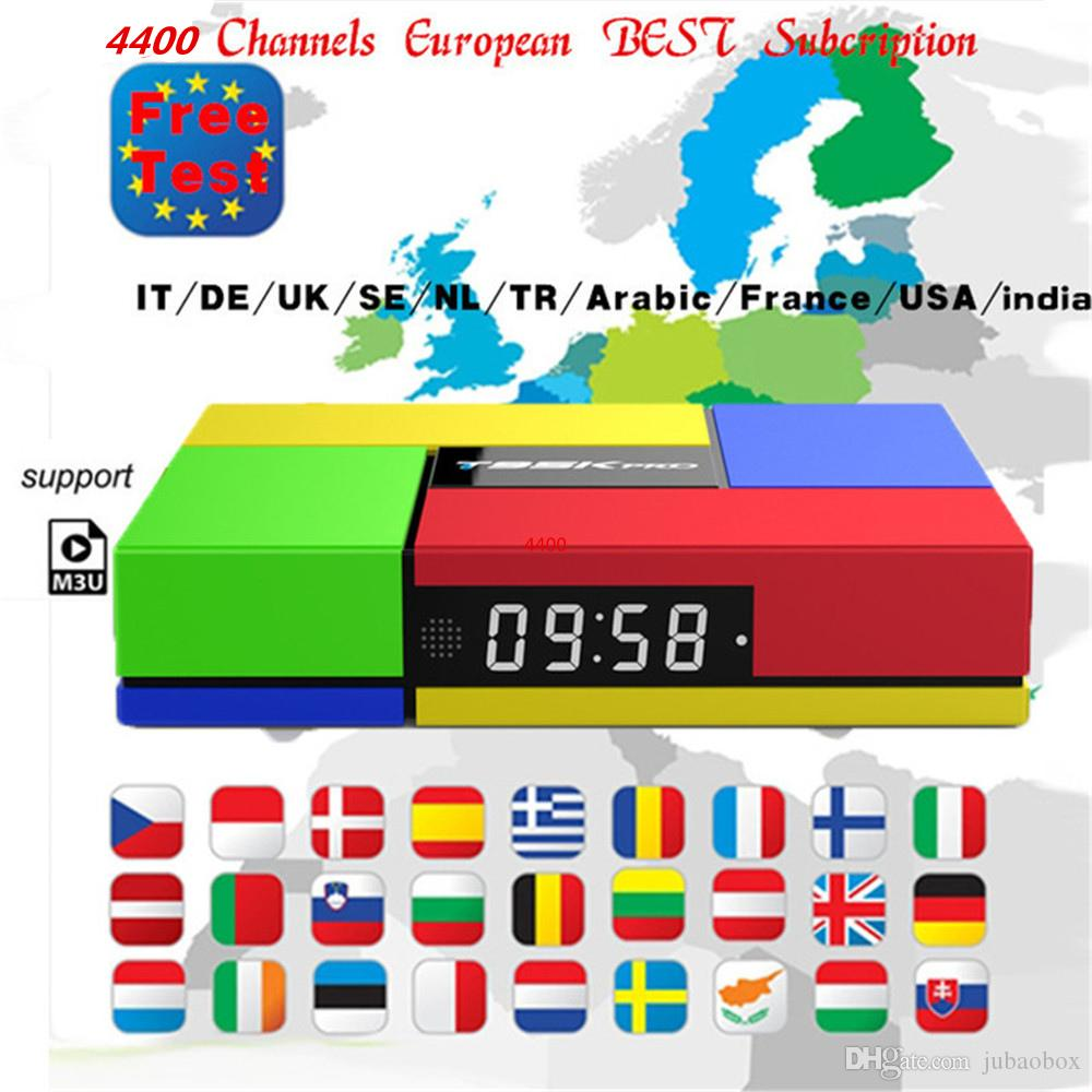 smart android tv box with iptv 1 year subscription arabic europe usa french  spain live stream player iptv code 4400 channels and vod
