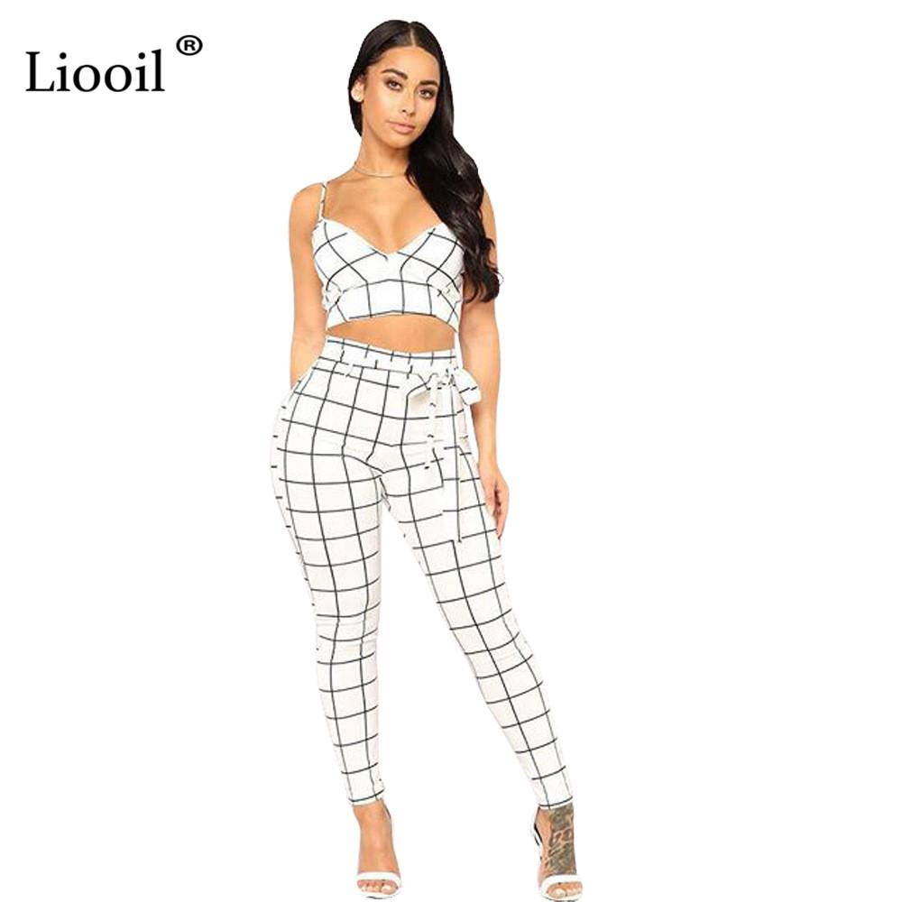 d30b8ee66ea 2019 Liooil Two Piece Lace Up Plaid Rompers Womens Jumpsuit Sleeveless  Backless Bodycon Black Jumpsuits Sexy Club Outfits For Woman From  Lbdapparel