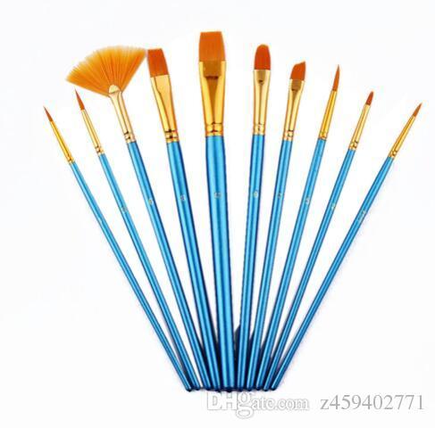 Satın Al 10 Adet Takım Suluboya Guaj Boyama Fırçalar Farklı şekil