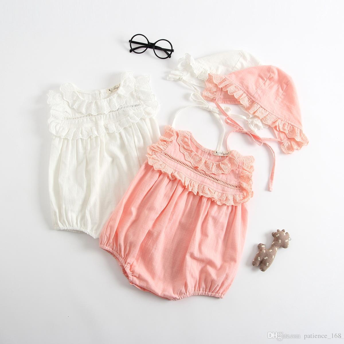6b501afb7 2018 INS New Style Baby Kids Solid Color Lace Collar Romper High ...