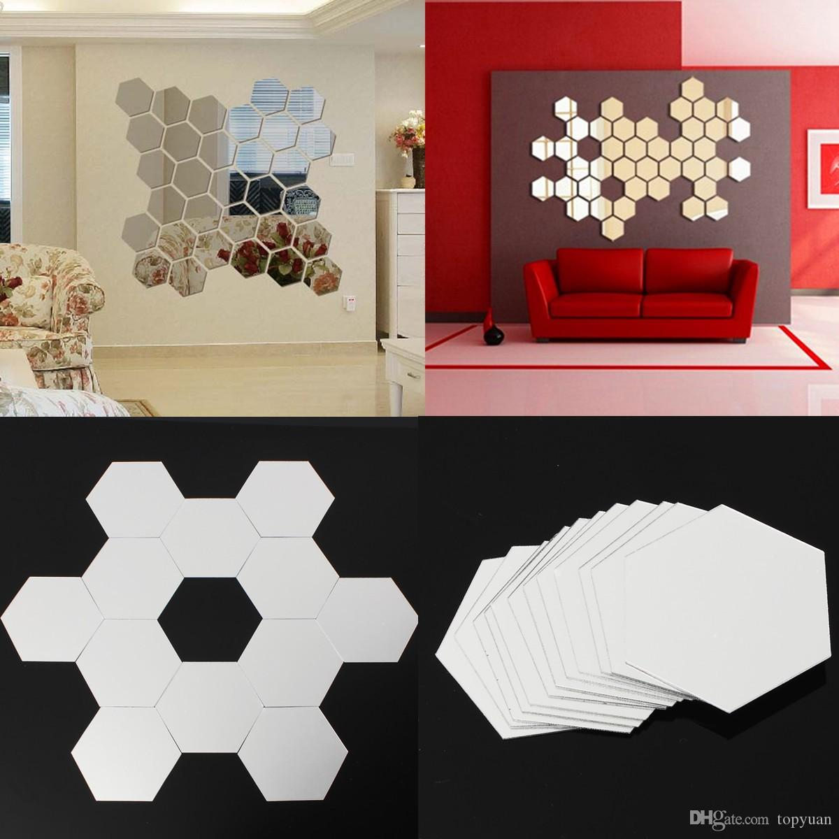 Mirror Wall Sticker Hexagon Removable Acrylic 3D Mirror DIY Home Room Decor Art