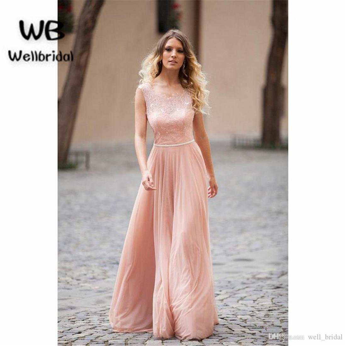 Illusion 2018 Blush Pink Evening Dresses Long With Lace Sweet 16
